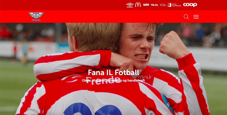 Skjermdump av Fana IL Fotballs nye hjemmeside